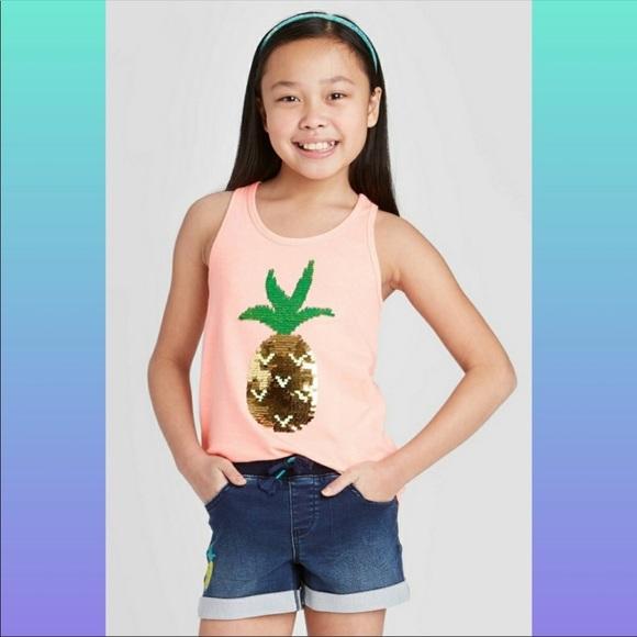 Flip sequin pineapple tank